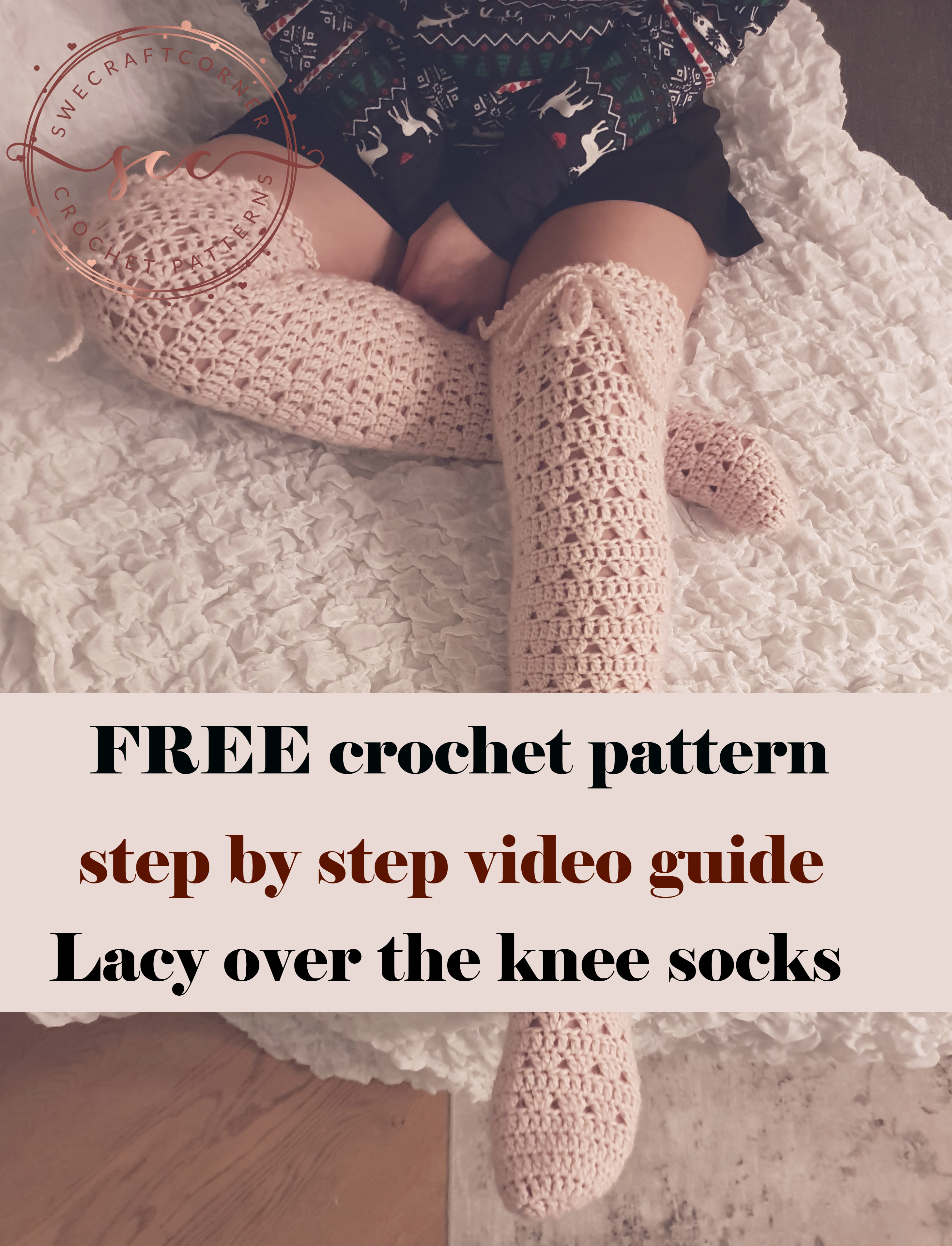 Romatic lacy over the knee socks FREE pattern! US TERMS