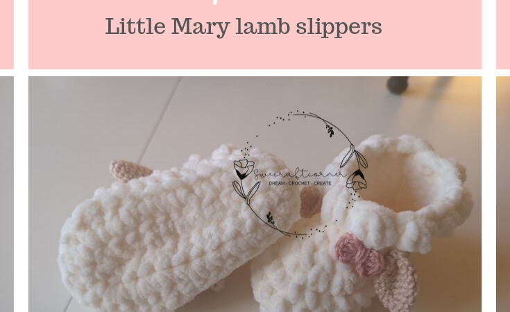 Crochet lamb slippers – baby booties – FREE pattern