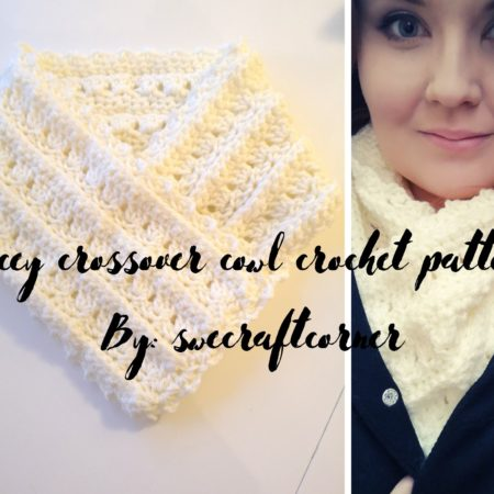 Lacey crossover cowl free crochet pattern